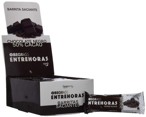20 unidades obegrass entrehoras barrita chocolate negro (30 g)