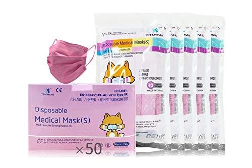 Mascarilla quirurg infantil rosa 50 unidades