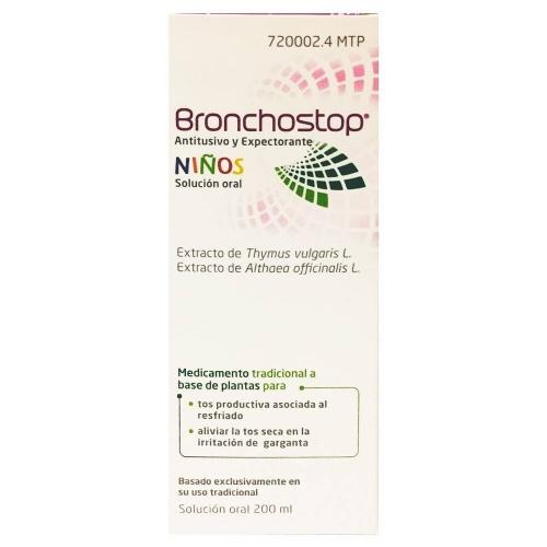 BRONCHOSTOP ANTITUSIVO Y EXPECTORANTE NIÑOS SOLUCION ORAL , 1 frasco de 200 ml
