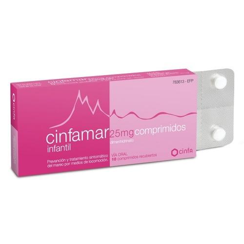 CINFAMAR INFANTIL 25 mg COMPRIMIDOS RECUBIERTOS , 10 comprimidos