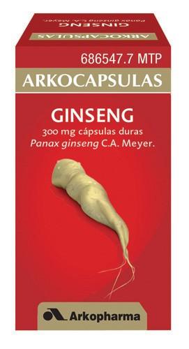 ARKOCAPSULAS GINSENG 300 mg CAPSULAS DURAS, 50 cápsulas
