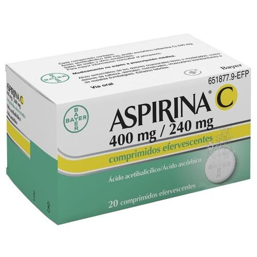 ASPIRINA C 400 mg/240 mg COMPRIMIDOS EFERVESCENTES , 20 comprimidos